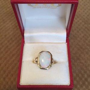 Jewelry - Beautiful opal 14k with 2 diamonds ring.